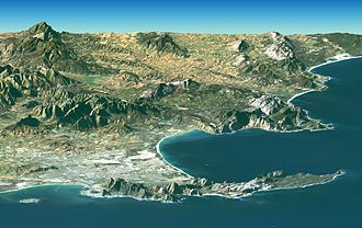 Shuttle Radar Topography Mission - Image: Satellite image of Cape peninsula