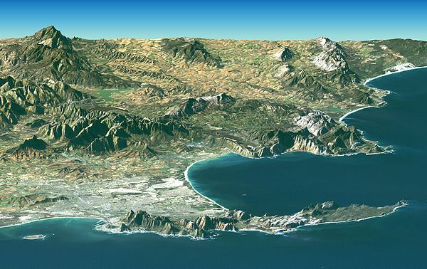 Landsat Image over SRTM Elevation by NASA, showing the Cape Peninsula and Cape of Good Hope, South Africa in the foreground. Satellite image of Cape peninsula.jpg