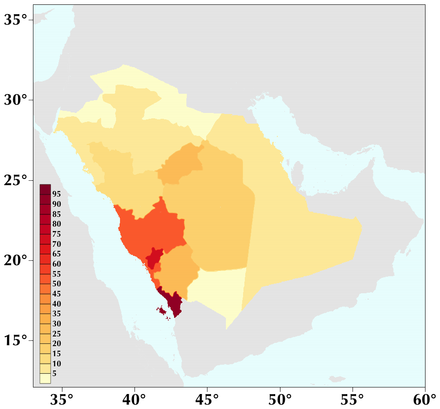 Saudi Arabia population density (people per km ) Saudi Arabia population density 2010.png