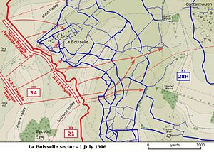 Capture of Fricourt - Image: Sausage Valley Somme 1 July 1916 map