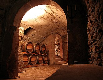 Buttery (room) - Rochlitz Castle, Germany, basement wine cellar, perhaps providing an idea of the mediaeval buttery