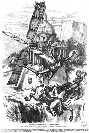 Carl Schurz - Carl Schurz is Don Quixote in this cartoon by Thomas Nast from Harper's Weekly of April 6, 1872
