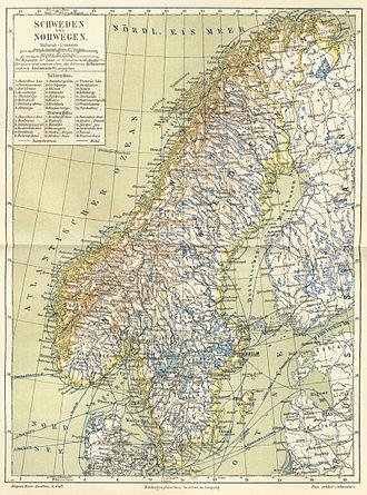 Scandinavian Peninsula - Image: Schweden und Norwegen um 1888