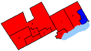 Canadian federal election results in Southern Durham and York - Key map