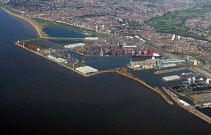Merseyside - Port of Liverpool docks, at Seaforth. Merseyside lies at the Mersey Estuary.