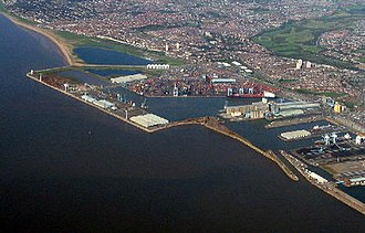 Merseyside - Port of Liverpool docks, at Seaforth. Merseyside lies at the Mersey Estuary