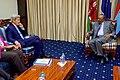 Secretary Kerry Listens to Kenyan President Uhuru Kenyatta Speak at the State House in Nairobi (29119910006).jpg