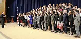 United States Foreign Service - Secretary of State Mike Pompeo swears in the 195th Foreign Service Generalist Class in October 2018