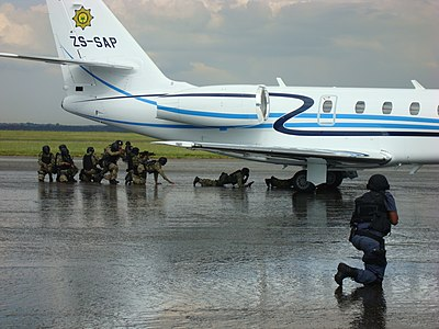 An aircraft hijacking assault simulation by South African special forces Security simulation at Swartkops Air Force Base1.jpg