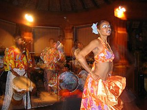 Music of Mauritius - A woman performs the sega in Pointe-aux-Piments, Mauritius