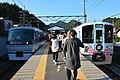 Seibu 10000 series Chichibu+Seibu 4000 series 52 Seats of Happiness Higashi-Agano Station 2017-11-06 (40029652322).jpg
