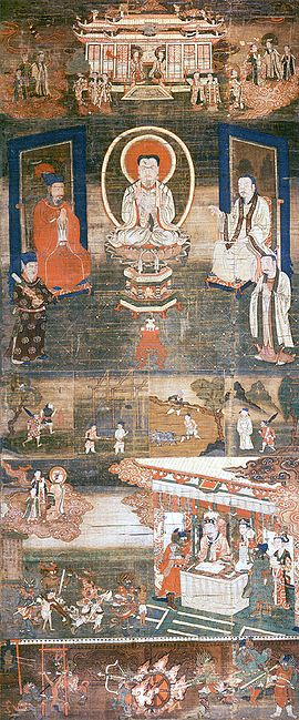 Sermon on Mani's Teaching of Salvation. Cathayan Manichaean silk painting, 13th-century.jpg