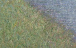 Olive Trees (Van Gogh series) - Georges-Pierre Seurat, Bathers at Asnières, 1884, National Gallery, London, detail of water and grass.  An example of use of Seurat's use of broken lines of color to bring light and form to paintings.