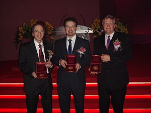 Brian Schmidt - Saul Perlmutter, Adam Riess, and Brian Schmidt being awarded the 2006 Shaw Prize in Astronomy.  The trio would later be awarded the 2011 Nobel Prize in Physics.