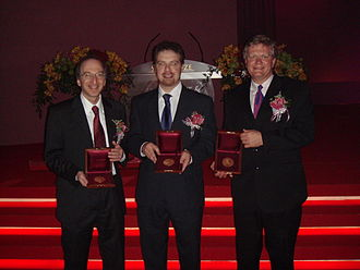 Saul Perlmutter - Perlmutter, Adam Riess, and Brian P. Schmidt being awarded the 2006 Shaw Prize in Astronomy.  The trio would later be awarded the 2011 Nobel Prize in Physics.