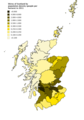 Shires of Scotland by population density (2011).png
