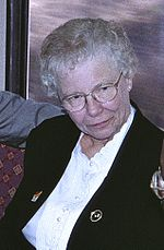 Shirley Huffman in 1998, aboard MAX train.jpg