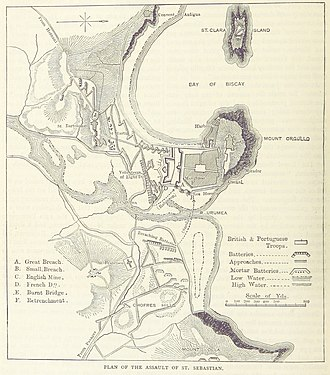 Siege of San Sebastián - A British map of the siege