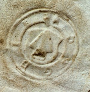 Baltringer Haufen - Seal of the Baltringer Haufen showing a ploughshare with the initials DWGBIE = Das Wort Gottes bleibt in Ewigkeit (the word of the Lord endures forever)