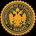Siegelmarke Militärabteilung des K.K. Staatsgestütes in Radautz W0317102.jpg