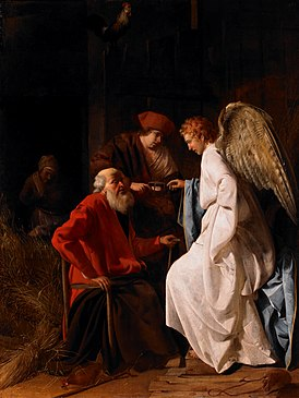 Simon Hendricksz. van Amersfoort - Tobias and the Angel curing Tobit of blindness, 1630 (Birmingham Museum of Art).jpg