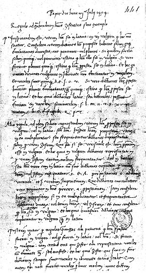 Cicco Simonetta - Manuscript of the Rules, BNF codex 1595.