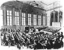 Konstituierende Sitzung der Preußischen Nationalversammlung in der Sing-Akademie zu Berlin 1848, Holzstich (Quelle: Wikimedia)