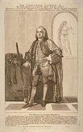 A full-length monochrome portrait of an elderly man, wearing 18th-century dress, and a long wig