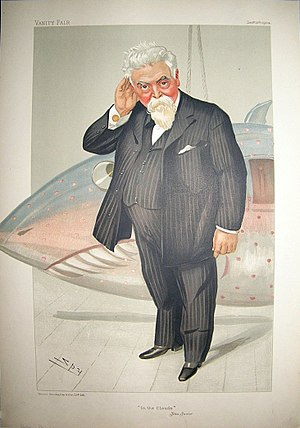 Wolseley Motors - Sir Hiram Maxim (1840–1916) caricature by Spy for Vanity Fair, 1904