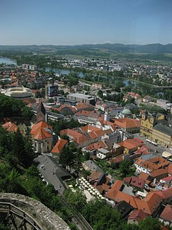 View of the city from Trenčín Castle