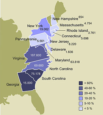 Fugitive slave laws - Slavery in the 13 colonies, 1770. Numbers show actual and estimated enslaved population by colony. Colors show enslaved population as a percentage of each colony's total population. Boundaries shown are based on 1860 state boundaries, not those of 1770 colonies.