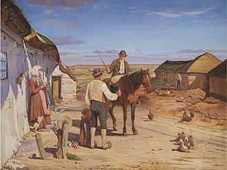 Hans Smidth - Image: Smidth En fremmed spørger om vej i bondegården på heden 1877