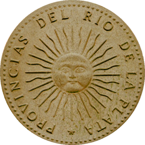 Sun of May - Sun of May on the first Argentine coin, 1813