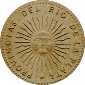 Primera moneda argentina, reverso, con sol de mayo, 1813 (en rediseño ...