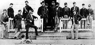 Gustavus Cheyney Doane - Officers at Fort Ellis, 1871 (Doane is 4th from left)