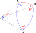Solve spherical triangle with b c gamma.png
