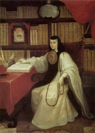 "Sor Juana Ines de la Cruz, 17th c. Mexican intellectual known in her lifetime as the ""Tenth Muse."" Painting by Miguel Cabrera Sor Juana by Miguel Cabrera.png"