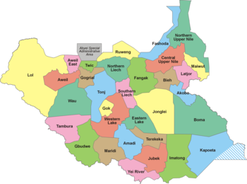 Map Of South Sudan States of South Sudan   Wikipedia