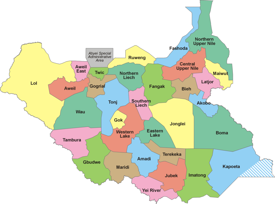 The 32 states of South Sudan, after the addition of 4 more states in 2017 South Sudan-32 States.png