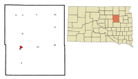Spink County South Dakota Incorporated and Unincorporated areas Redfield Highlighted.svg