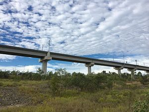 Springfield railway line - The railway viaduct is more than 800 metres in length