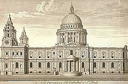 Christopher Wren's drawing of his new St Pauls. The building is quite fat, with two fussy pinacle towers at the west end. In the middle is a huge dome, which looks a bit like a breast on a wedding cake.
