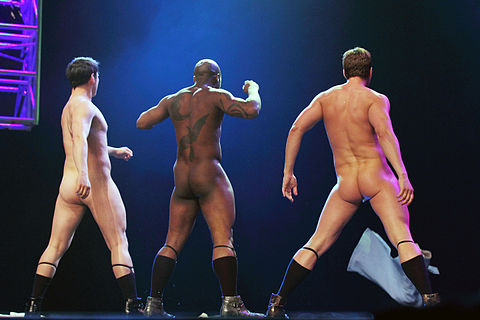 "The ""Stage Door Johnnies"" performing at the Burlesque Hall of Fame in Las Vegas, 2011"