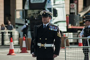 Petty officer - A petty officer of the Royal Navy on parade in London in 2015. The chevrons represent good conduct.
