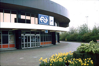 Schiphol Airport railway station - Former entrance of the railway station in 1989, demolished in 1995