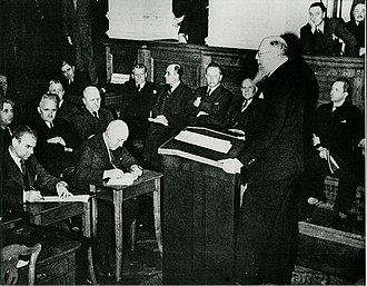 Denmark in World War II - Danish Prime Minister Thorvald Stauning addresses the Rigsdagen in Christiansborg Palace on the day of the invasion