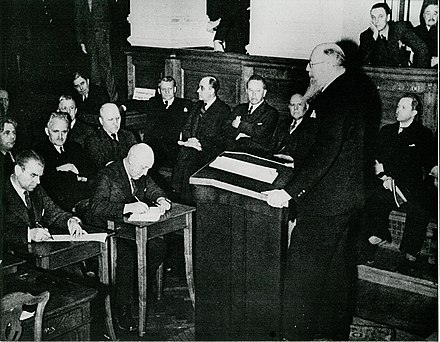 Danish Prime Minister Thorvald Stauning addresses the Rigsdagen in Christiansborg Palace on the day of the invasion Statsminister Th. Stauning (6045175779) (2).jpg