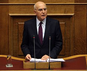 Stavros Dimas speaking in parliament.jpg