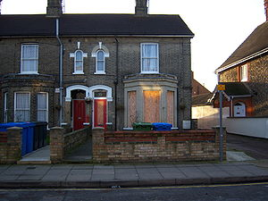 Ipswich serial murders - Wright's rented flat, 79, London Road, Ipswich, which was boarded up from his arrest until February 2009