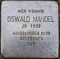 Stumbling block for Oswald Mandel (Lungengasse 41)